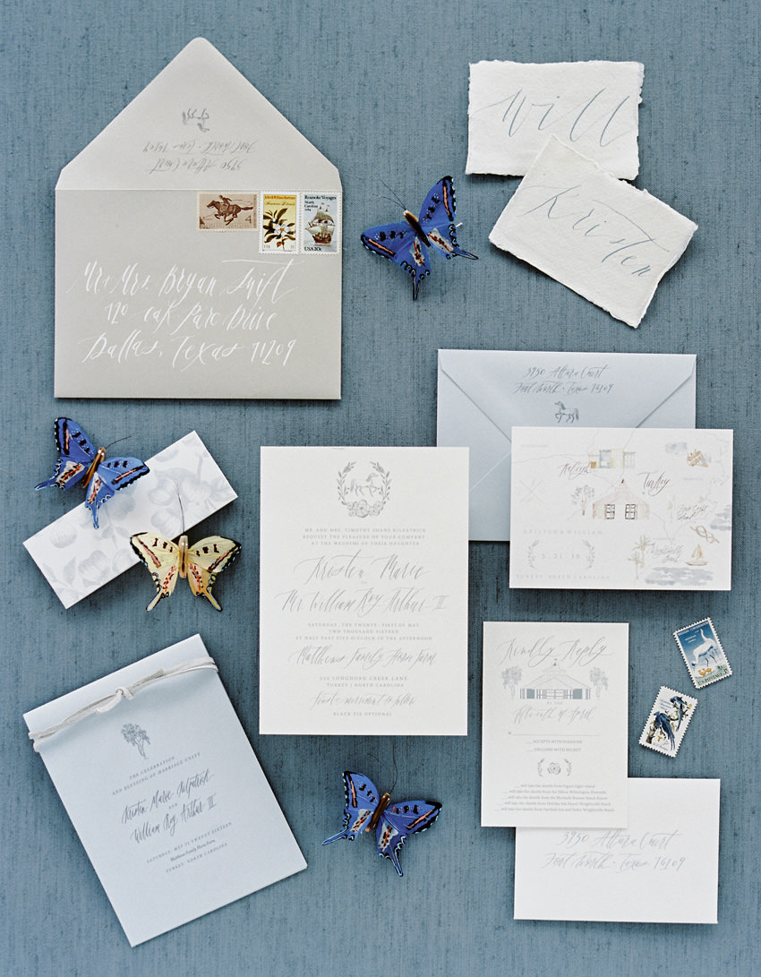 calligraphy invitation blue film